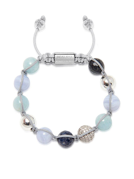 Women's Beaded Bracelet with Aquamarine, Sapphire and Blue Lace Agate - Nialaya Jewelry  - 2
