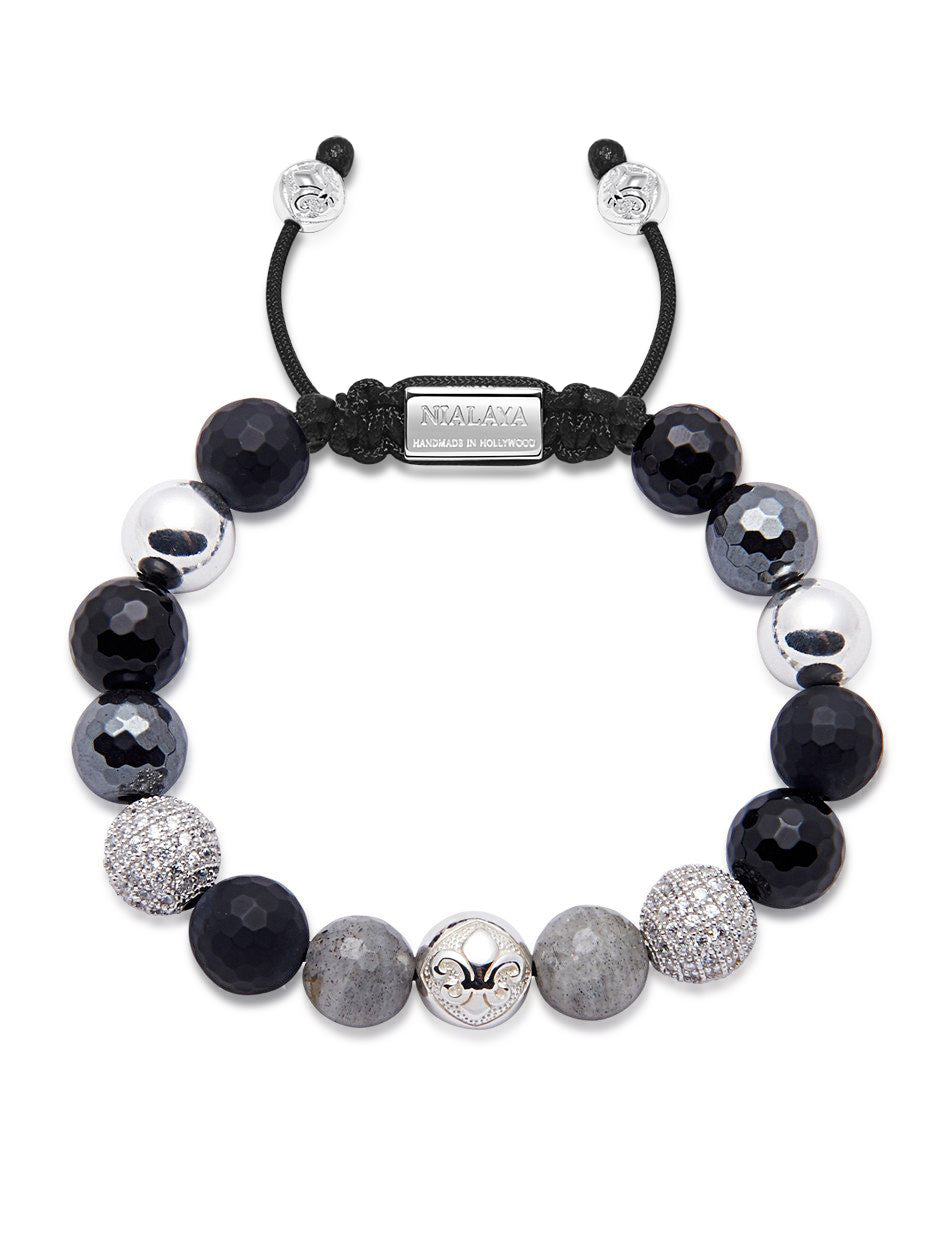 Women's Beaded Bracelet with Matte Onyx, Agate, Labradorite and Hematite