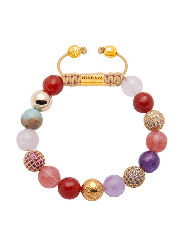 Women's Beaded Bracelet with Carnelian, Cherry Quartz, Amethyst, Rose Quartz and Opal