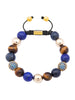 CZ Diamonds Blue, Blue Lapis & Brown Tiger Eye - Nialaya Jewelry  - 1
