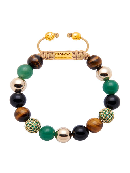 CZ Diamond with Green jade & Brown Tiger Eye - Nialaya Jewelry