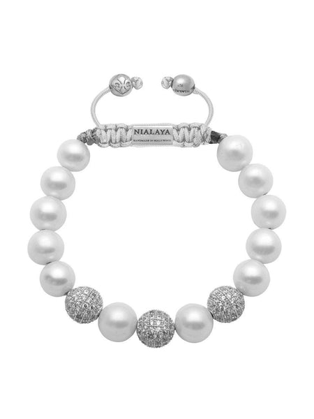 CZ Diamonds With White Pearls - Nialaya Jewelry
