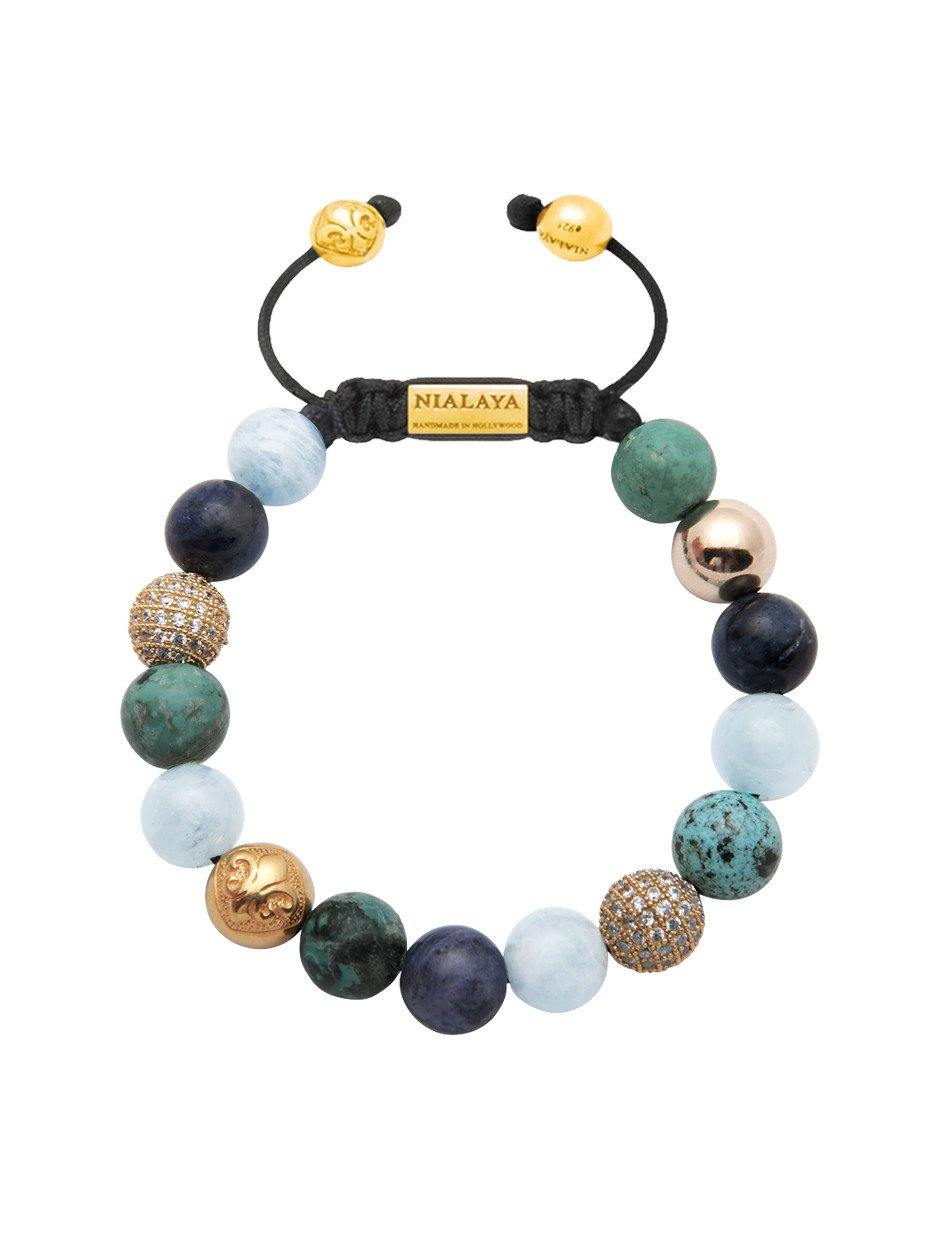 Women's Beaded Bracelet with Aquamarine, Blue Dumortierite, Bali Turquoise and Gold