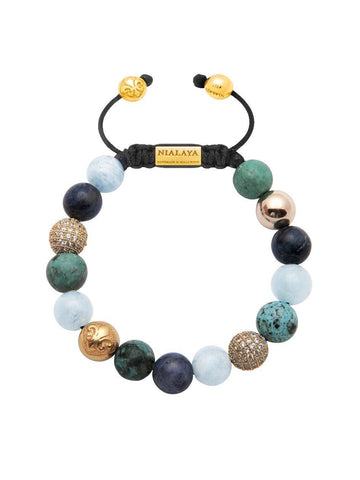 Women's Beaded Bracelet with Aquamarine, Blue Coral, Bali Turquoise and Gold
