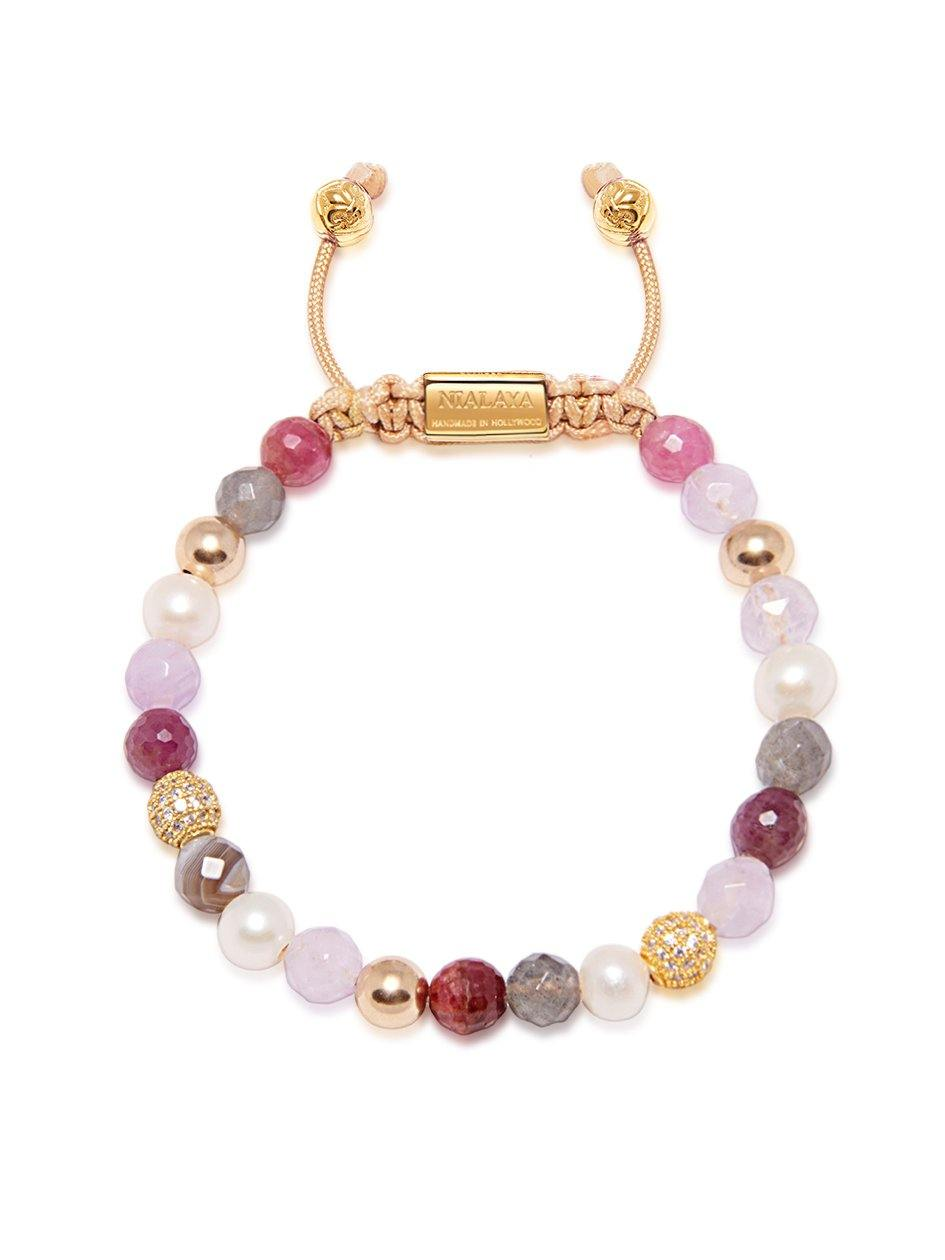 Women's Beaded Bracelet with Cherry Quartz, Amethyst Lavender, Pearls and Labradorite