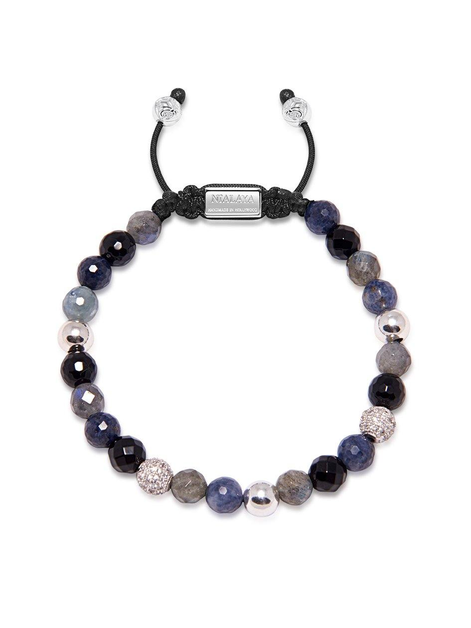 Women's Beaded Bracelet with Blue Dumortierite, Agate and Labradorite