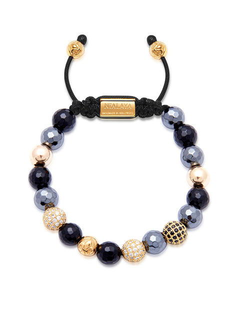 Women's Beaded Bracelet with Hematite, Agate and Gold