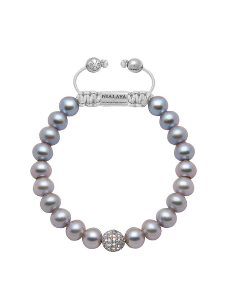Women's Beaded Bracelet with Grey Pearl - Nialaya Jewelry  - 1