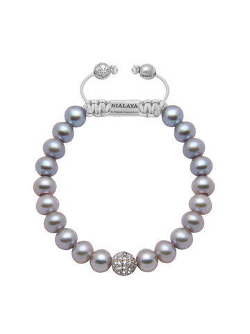 Women's Beaded Bracelet with Grey Pearl