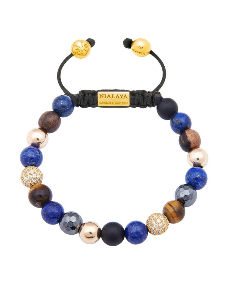 Gold CZ Diamonds With Brown Tiger Eye, Blue Lapis - Nialaya Jewelry