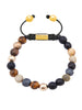 CZ Diamonds White, Brown Tiger Eye & Matte onyx - Nialaya Jewelry  - 1