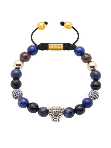 Women's Beaded Bracelet with Blue Lapis, Blue Coral and Blue CZ Diamond Panther Head