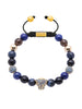 Women's Beaded Bracelet with Blue Lapis, Blue Coral and Blue CZ Diamond Panther Head - Nialaya Jewelry  - 1