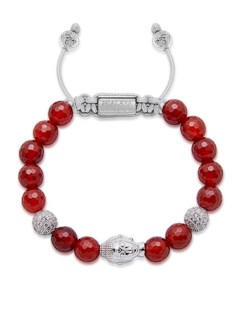 Women's Beaded Bracelet with Carnelian and Silver Buddha