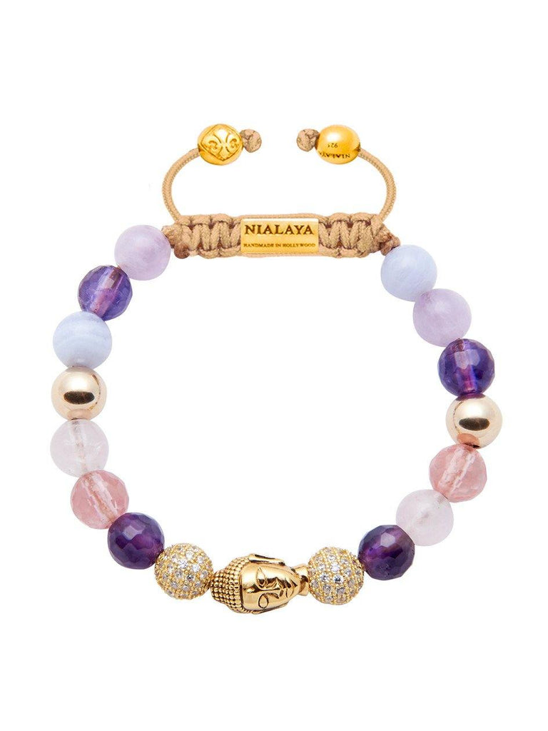 Women's Beaded Bracelet with Amethyst, Rose Quartz, Blue Lace Agate and Gold Buddha - Nialaya Jewelry  - 1