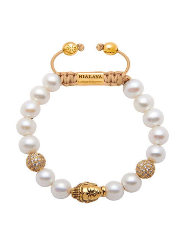 Women's Beaded Bracelet with White Pearls and Gold Buddha - Nialaya Jewelry  - 1