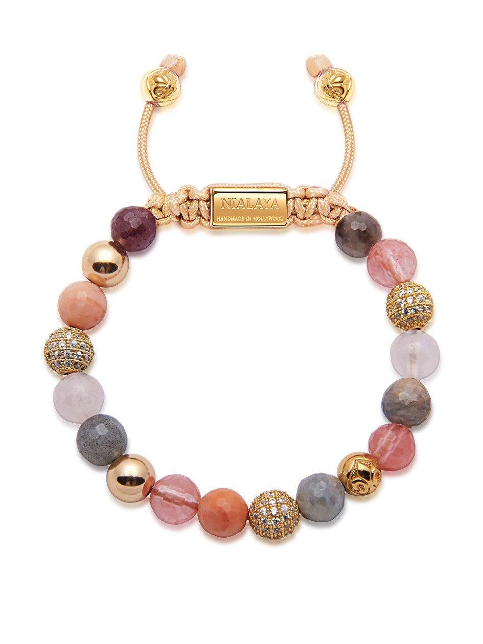 Women's Beaded Bracelet with Cherry Quartz, Rose Quartz, Labradorite and Gold