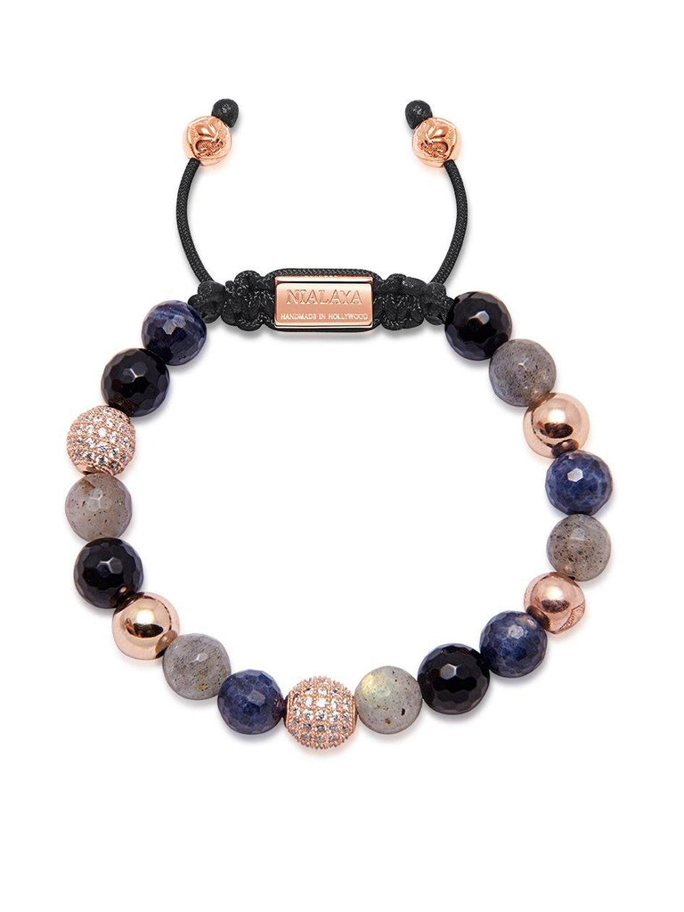 Women's Beaded Bracelet with Agate, Labradorite, Sapphire, and Rose Gold