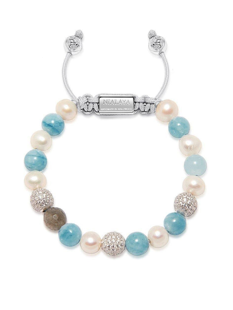Women's Beaded Bracelet with Aquamarine, Pearl, and Labradorite