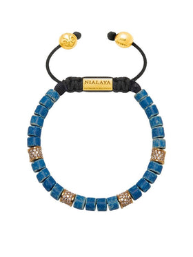 The Tulum Collection - Blue Ceramic and Gold/Clear CZ