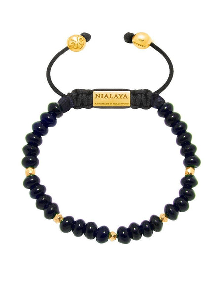 Women's Beaded Bracelet with Dark Blue Glass Beads - Nialaya Jewelry  - 1