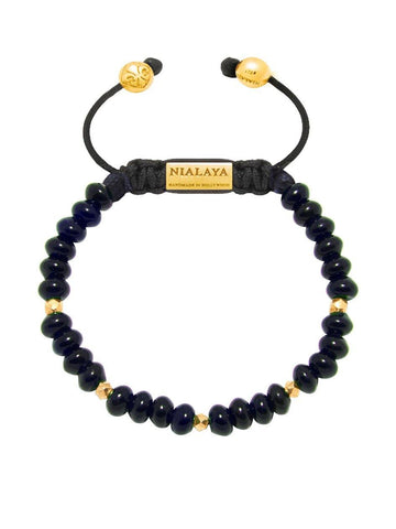 Women's Beaded Bracelet with Dark Blue Glass Beads