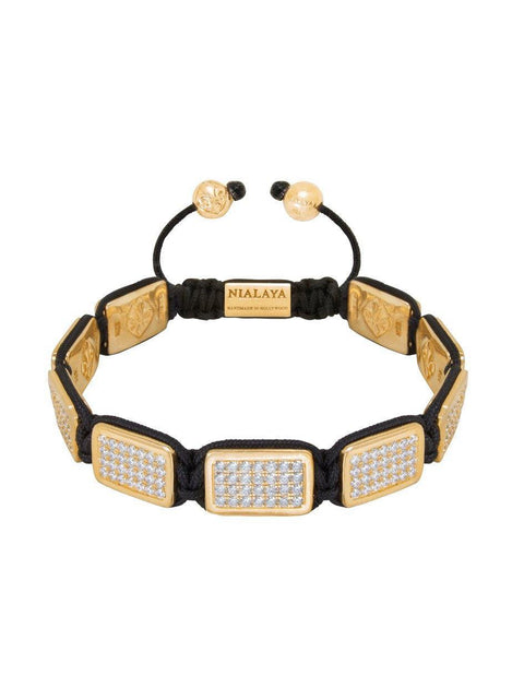 Men's Flatbead Bracelet LUX Plate Gold with White CZ Diamonds