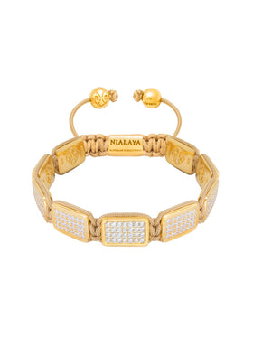Flatbead Bracelet LUX Plate Gold & White CZ Diamonds
