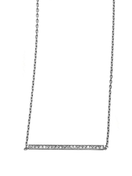 Skyfall Silver Bar Necklace With Cz Diamonds - Nialaya Jewelry  - 1