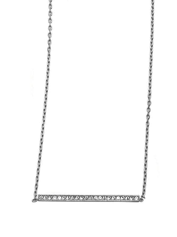 Skyfall Silver Bar Necklace With Cz Diamonds