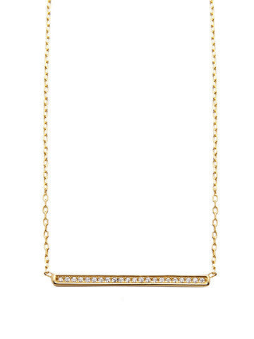 Skyfall Gold Bar Necklace With Cz Diamonds - Nialaya Jewelry  - 1