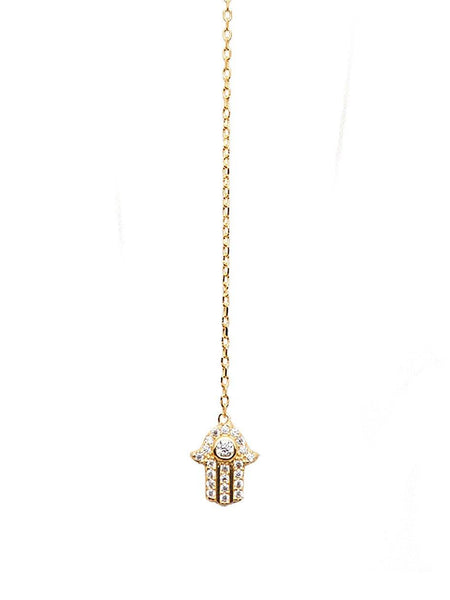 Skyfall Hamsa Hand Droplet Necklace - Nialaya Jewelry  - 2