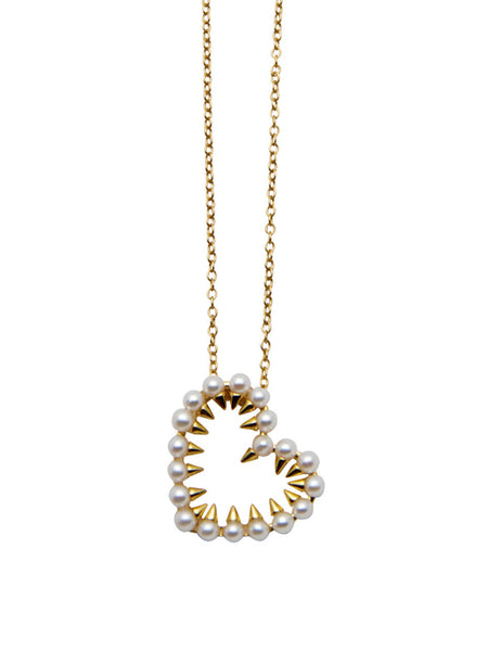 Pearl Covered Heart Necklace - Nialaya Jewelry  - 1
