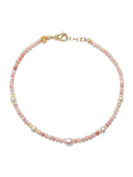 Women's Beaded Choker with Rhodochrosite and Baroque White Pearl