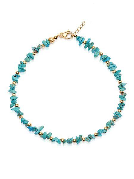 Women's Beaded Choker with Turquoise and Gold - Nialaya Jewelry