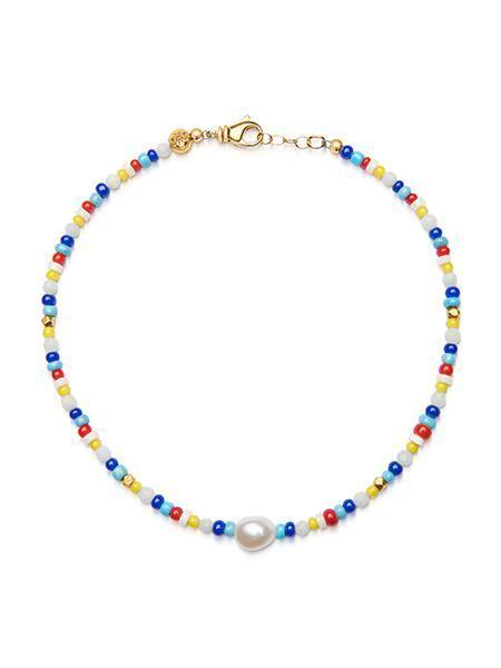 Women's Beaded Multi-Color Choker with Baroque White Pearl