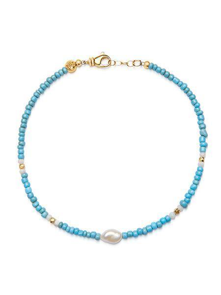 Women's Beaded Choker with Turquoise and Baroque White Pearl - Nialaya Jewelry