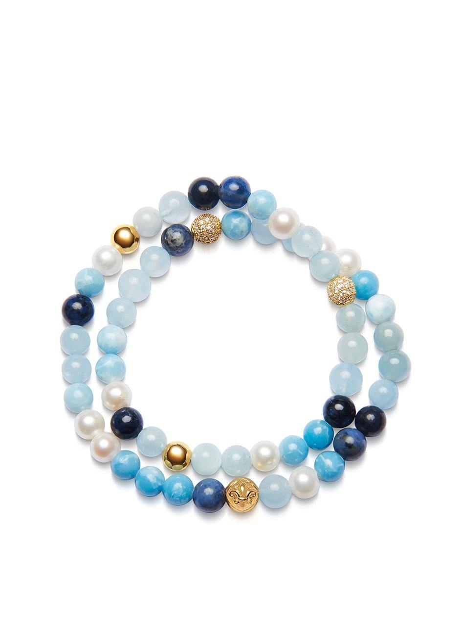 Women's Wrap-Around Bracelet with Aquamarine, Larimar, White Sea Pearl and Blue Dumortierite