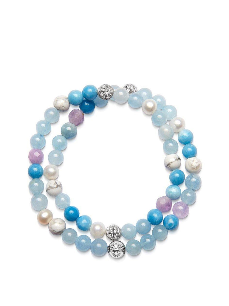 Women's Wrap-Around Bracelet with Aquamarine, Larimar, White Sea Pearl, Howlite and Amethyst Lavender