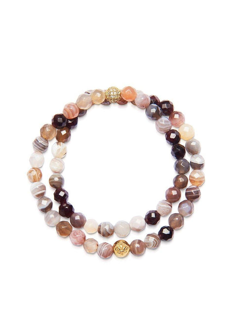 Women's Wrap-Around Bracelet with Botswana Agate and Gold - Nialaya Jewelry
