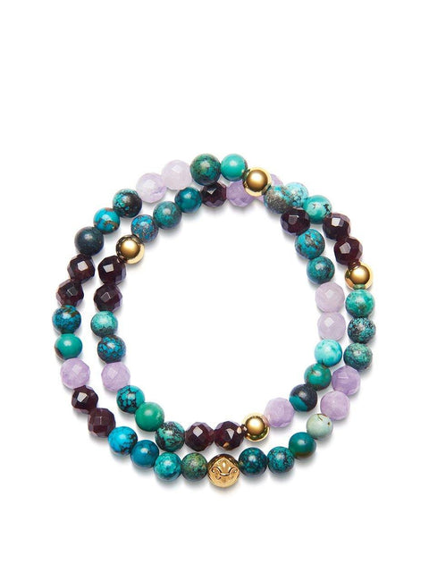 Women's Wrap-Around Bracelet with Bali Turquoise, Amethyst Lavender, Garnet and Gold - Nialaya Jewelry