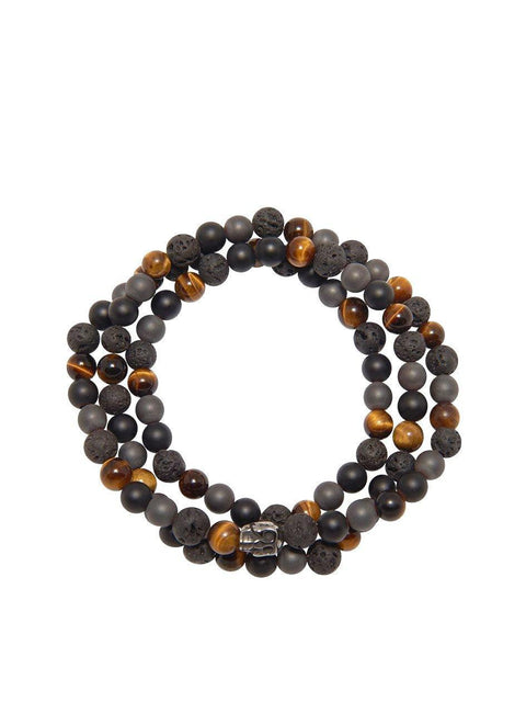 Men's Beaded Wrap Bracelet with Brown Tiger Eye, Matte Onyx, Hematite, and Lava Stone - NIALAYA INC