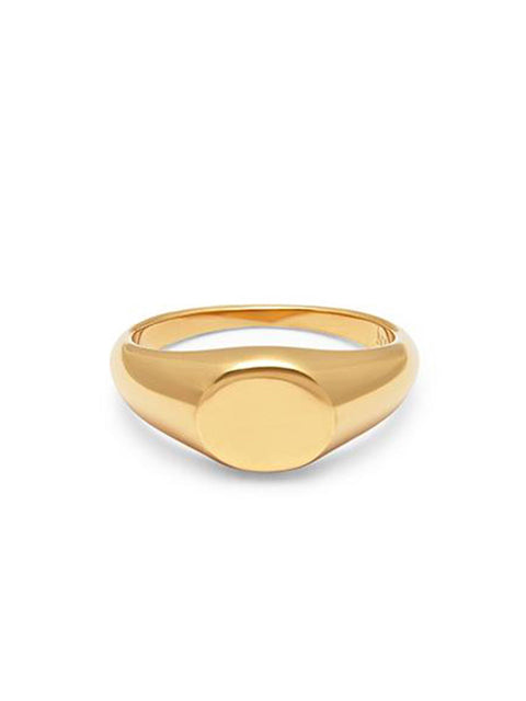 Skyfall Mini Signet Ring in Gold - Nialaya Jewelry