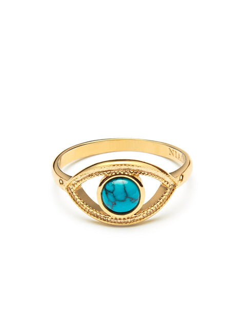 Skyfall Turquoise Evil Eye Ring - Nialaya Jewelry