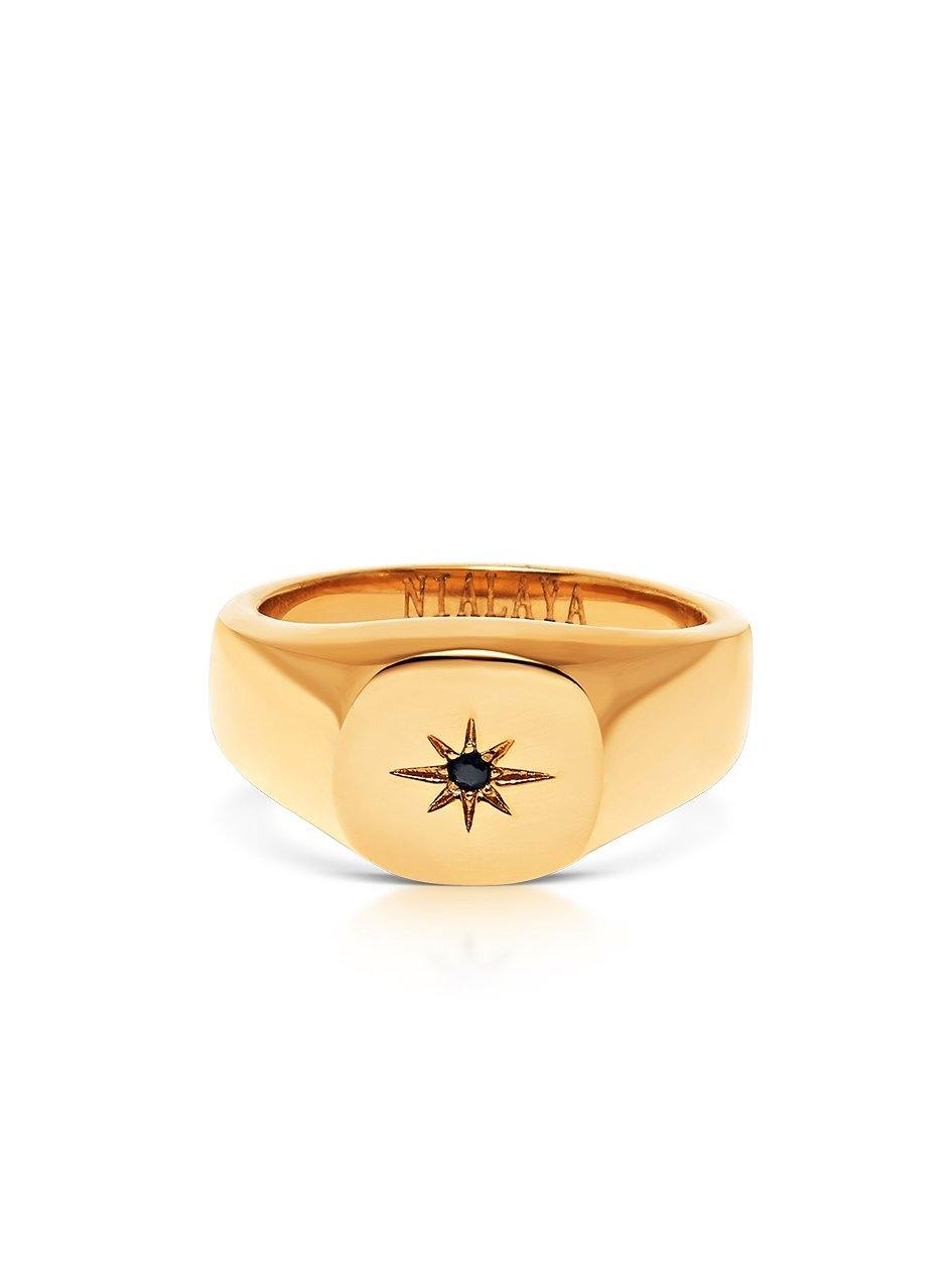 Skyfall Starburst Signature Ring in Gold - NIALAYA INC