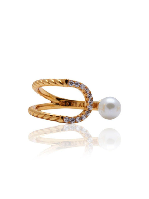 Eclipse Pearl Ring - Nialaya Jewelry  - 1