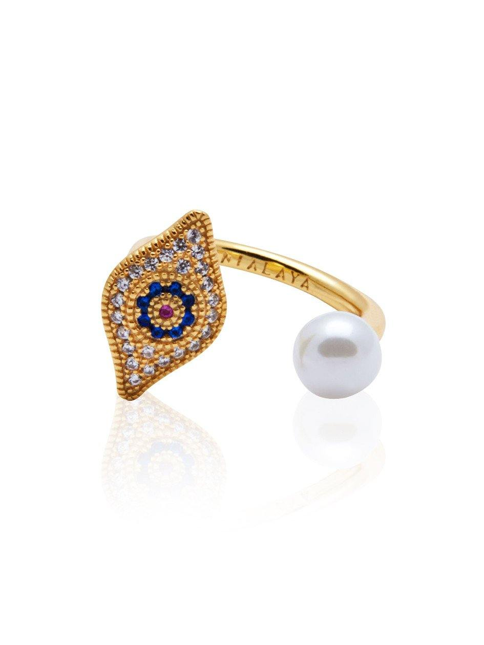 Evil Eye Pearl Ring - Nialaya Jewelry  - 1