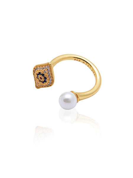 Evil Eye Pearl Ring - Nialaya Jewelry  - 3