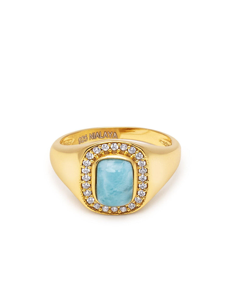 Women's Sterling Silver Signet Ring with Larimar
