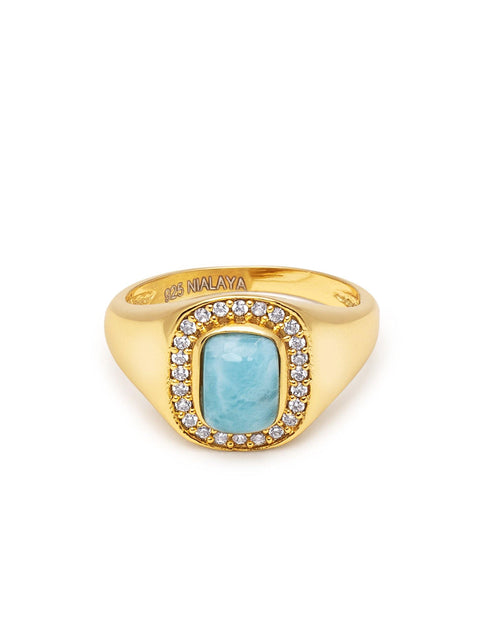 Women's Sterling Silver Signet Ring with Larimar - Nialaya Jewelry